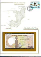 Banknotes of Every Nation Congo 1991 500 Francs Unc P8d Serie G.04