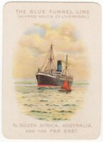 Playing Cards 1 Swap Card - Old Vintage Wide BLUE FUNNEL LINE Shipping Ship 18