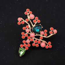 Brosche groß golden Bügel Baum Koralle mini Perle Orange Lachs blau Class XZ6