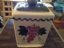 Square ceramic cookie jar with grapes on it