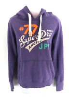 SUPERDRY Womens Hoodie Jumper S Small Purple Cotton & Polyester