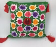 """Green Embroidered Floral Square Throw Pillow 10"""""""