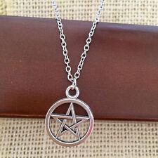 Gótico Pentagrama Círculo de Plata Colgante Cadena Con Joyas Caja!!!