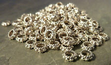 50 Antique Silver Tone Ring Charm Spacer Beads Findings 6x3mm 3mm Hole Bracelet