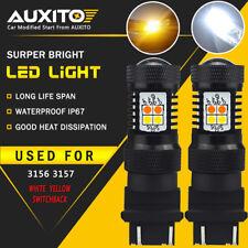 2 PC 3157 4157NA White Amber Switchback LED Turn Signal Light Parking DRL Bulb E