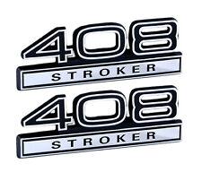"""408 6.7 Liter Stroker Engine Emblems Badge Logo in Black & Chrome - 4"""" Long Pair"""