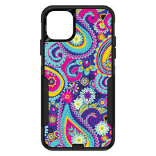 CUSTOM OtterBox Commuter for Apple iPhone Hot Blue Yellow Pink Paisley