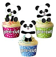 PRECUT Panda Bears Edible Cup Cake Toppers Decoration Birthday Party Childrens