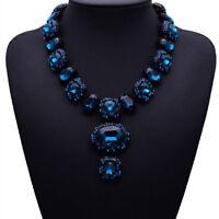 Blau Glas Strass Glamour Design Kette Halskette Collier Modeschmuck schwarz neu
