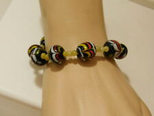 Vintage Indonesian Pottery Clay Painted Bead Black Red Yellow 7.5 Bracelet 9f 79