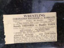 A2k ephemera 1957 advert ramsgate wrestling lee edwards buddy cody mcmanus