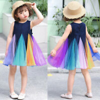 Toddler Kids Baby Girl Casual Party Rainbow Vest Sleeveless Tutu Dress Outfit ED