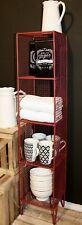4 Tier Square Shelf Unit Red Home Storage Display Decor Metal Shelving Stand