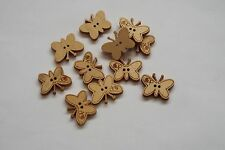 10pc 22mm Untreated Wooden Butterfly Shaped Craft Button 0964
