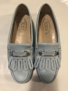 AUTHENTIC TOD'S Women's Safety Pin Loafers Light Blue