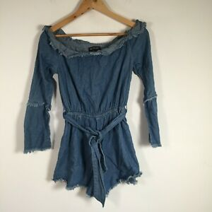 The Fifth label womens playsuit romper size S blue cotton long sleeve