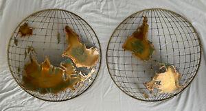 C JERE The Hemisphere Wall Metal Art Sculpture World Globe MCM Brutalist SIGNED