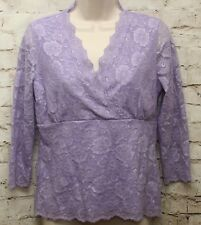 Chadwick's Lace Top S Empire Waist Lt Purple 3/4 Sheer Sleeves Lined Floral
