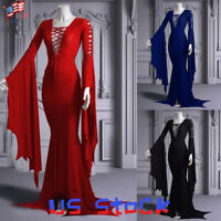 Women Medieval Costume Dress Long Sleeve Flared Tie Up Neck Gown Party Gothic US