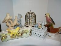 Bird Figurines Planters Boxes Mixed Lot Ceramic 1 Glass Japan California pottery