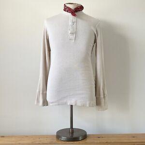 True Vintage USA Military Cotton & Wool Henley Undershirt Shirt Top S M