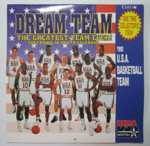 1992 USA BASKETBALL DREAM TEAM CALENDAR w/ Michael Jordan Bird Magic Collectible