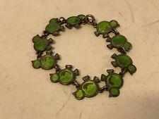 Vintage Meka sterling 925 Denmark green enamel chicken links bracelet