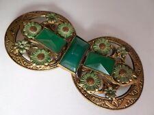 Pretty Art Nouveau, Vintage checo, chrysoprase y esmalte, dorada hebilla de latón.