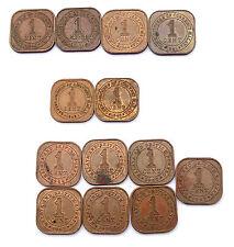 13 x 1 Cent 1940-1961 MALAYA & BRITISH BORNEO .British Colony. Cuivre/ Copper