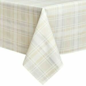 """Fabric Tablecloth 60"""" X 84"""" Tuscan Plaid Beige Laminated Oblong Table Linen"""