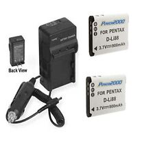 TWO 2 D-Li88 D-L188 Batteries + Charger for Pentax Optio H90 P70 P80 WS80 W90