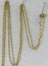 USED 14K GOLD 24.5 INCH LONG THIN ROPE CHAIN NECKLACE