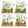 Kids Toddler Early Educational Magnetic Puzzle Wooden Art Easel Game Toy Set