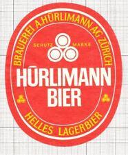 SWITZERLAND Brauerei A.Hurliman,Zurich Helles Lager (5) beer label C1654