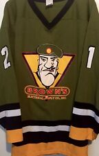 VTG 90s CUSTOM #21 Browns Electric ARMY SARG THEME Hockey Jersey HIPHOP Green 2X