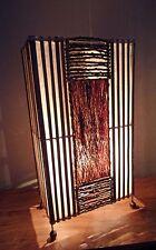 Unusual Jungle Flame Bali Table Lamp 50cm Bamboo & Bark Ethnic Lamp