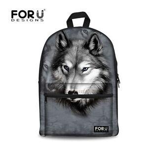 Cool Animal Wolf Canvas Backpack Gray Travel Shoulder Bag Rucksack for Men Women