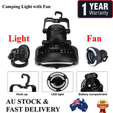 2 In 1 18 LED Camping Ceiling Fan Light Hang Tent Lamp Lantern Outdoor Portable