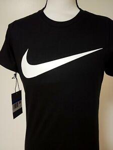 For Women. Nike T-Shirt. Crew Neck. Check Mark. Black T-Shirt.