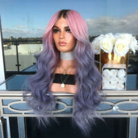 LN_ UK_ Women Black Pink Purple Gradient Curly Wig Faux Hair Cosplay Hairpiece