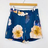 Keepsake The Label Womens Shorts High Waisted Floral Blue Rayon Size S