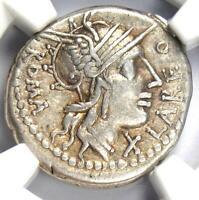 Roman Republic Q. Fabius Labeo AR Denarius Roma Coin 124 BC - NGC Choice VF