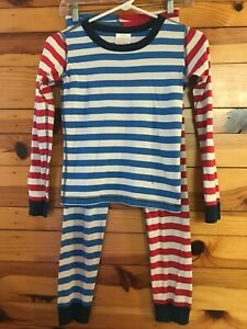Hanna Andersson Mix-Up Striped Long John Pajama Set Size 140 10