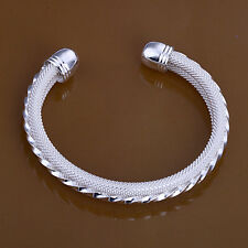 925 Beautiful Silver Grooved Bracelet Bangle Valentines Day Gift Lovers