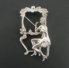 Taxco Woman Lady looking in Mirror Vanity Photo Frame Sterling Silver Brooch Pin