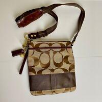 Coach Brown Stripe Signature Canvas Crossbody Messenger Bag Purse