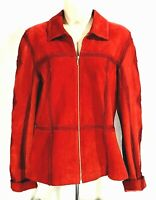 Together Womens Red Suede Leather w/Embroidery zippered Jacket Sz 6
