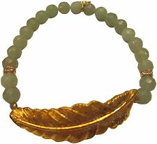 Bee Charming Green Aventurine  Beaded Gold Tone Feather Bracelet