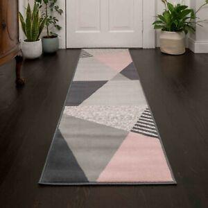 Modern Blush Pink Geometric Rug Scandi Hallway Runner Rugs Hall Carpet Runners