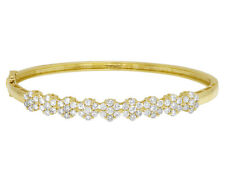 "14k Ladies Yellow Gold Real Diamond Flower Cluster Bangle Bracelet 6MM 2CT 6.5"""